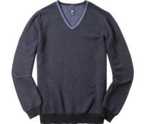 Herren Pullover Woll-Mix navy-hellblau gestreift