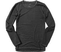 Herren T-Shirt Longsleeve Baumwolle schwarz-anthrazit gestreift