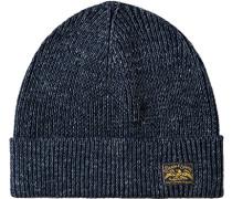 Mütze Baumwolle marine-weiß meliert