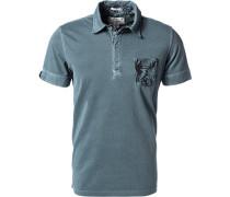 Herren Polo-Shirt Polo Baumwoll-Jersey seegrün meliert