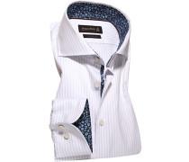 Hemd Custom Fit Baumwoll-Twill hellgrau-weiß gestreift