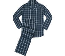 Schlafanzug Pyjama Baumwolle nachtblau kariert
