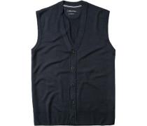 Pullover Weste, Shaped Fit, Schurwolle, nachtblau