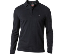 Polo-Shirt Zip-Polo Baumwoll-Piqué marineblau
