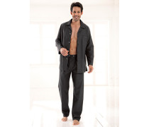 Schlafanzug 'Antonio' Baumwolle anthrazit