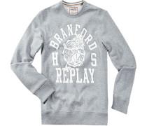 Pullover Sweater Baumwolle hellgrau meliert