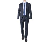 Herren Anzug Extra Slim Fit Schurwolle Super130 dunkelblau