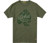 T-Shirt Baumwolle khaki meliert