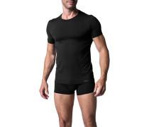 Herren T-Shirt Microfaser schwarz kariert