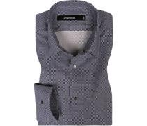 Hemd, Slim Fit, Baumwolle, weiß-blau gemustert