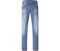 Herren Blue-Jeans Regular Fit Baumwoll-Stretch jeansblau