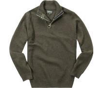 Pullover Troyer Wolle tannengrün meliert