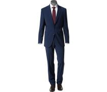 Herren Anzug Modern Fit Schurwolle marine blau