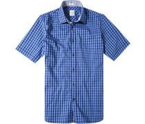 Herren Hemd Modern Fit Popeline blau kariert