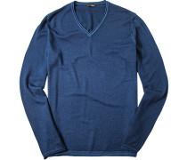 Herren Pullover Wolle marine meliert blau