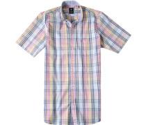 Herren Hemd Regular Fit Baumwolle blau-rosa kariert multicolor