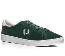 Schuhe Sneaker Veloursleder tannengrün-weiß