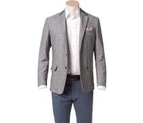 Herren Sakko Modern Fit Baumwoll-Stretch schwarz-grau gemustert