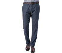 Herren Hose Chino Slim Fit Woll-Stretch dunkelblau meliert