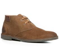 Herren Schuhe Desert Boots Kalbvelours cognac braun,weiß