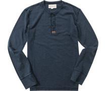 Herren T-Shirt Longsleeve Baumwoll-Mix indigo meliert blau