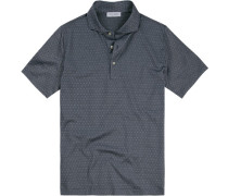 Polo-Shirt Polo Baumwoll-Jersey rauchblau gepunktet