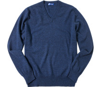 Pullover, Kaschmir, dunkelblau meliert