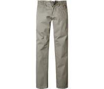 Herren Jeanshose Straight Fit Baumwoll-Stretch khaki grün