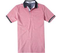 Herren Polo-Shirt Polo Baumwoll-Piqué rot-weiß meliert