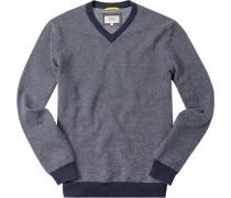 Pullover, Baumwolle, dunkelblau-weiß gemustert