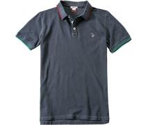 Polo-Shirt Polo Slim Fit Baumwoll-Piqué graublau