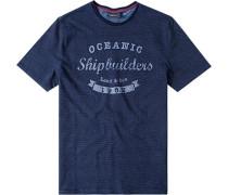 Herren T-Shirt Baumwolle nachtblau gemustert