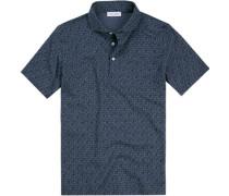 Polo-Shirt Polo Baumwoll-Jersey navy gemustert