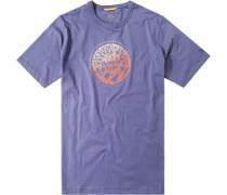 Herren T-Shirt Baumwolle lila gemustert violett