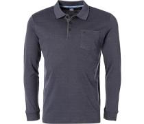Polo-Shirt Polo Baumwoll-Piqué graublau meliert