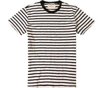 Herren T-Shirt Baumwolle schwarz-off white gestreif beige,schwarz