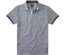 Polo-Shirt Slim Fit Baumwoll-Piqué marine