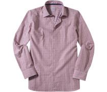 Hemd Modern Fit Baumwolle weiß-rotbraun gestreift
