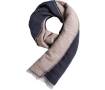 Schal Wolle marineblau-beige meliert