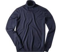 Pullover Pulli Merinowolle marineblau meliert