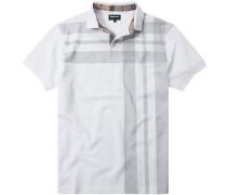 Polo-Shirt Polo Baumwoll-Piqué -grau gemustert
