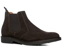 Herren Schuhe Chelsea Boots Veloursleder kaffeebraun braun,beige
