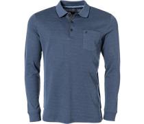 Polo-Shirt Polo, Baumwoll-Piqué, rauchblau meliert