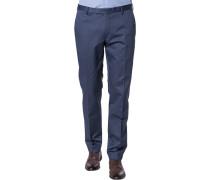 Anzughose Slim Fit Baumwolle graublau