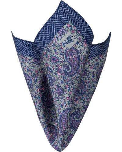Accessoires Einstecktuch, Seide, blau gemustert