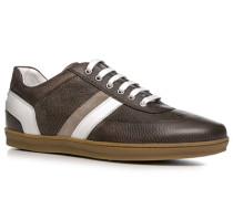 Herren Schuhe Sneaker Kalbleder dunkelbraun braun,weiß