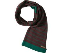 Schal Wolle bordeaux-dunkelgrün gestreift