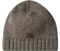 Mütze Schurwolle -grau meliert