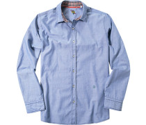 Herren Oberhemd Slim Fit Oxford blau meliert