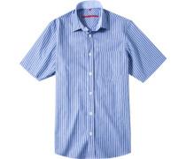 Herren Oberhemd Classic Fit Popeline blau gestreift